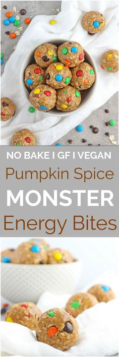 Pumpkin Spice Monster Cookie Energy Bites