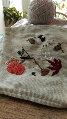 My hand embroidered halloween small square cushion