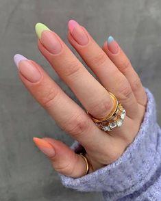 Acrylic Nails Almond Shape, Pink Acrylic Nails, Halloween Acrylic Nails, Do It Yourself Nails, Pastel Nail Art, Short Almond Nails, Almond Nails Designs, Nail Tattoo, French Tip Nails