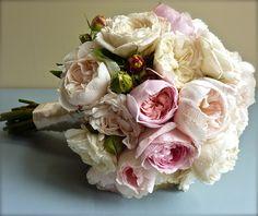 www.flowerjar.com.au  Ivory and pink David Austin rose bouquet