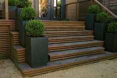 Ideas Backyard Patio Steps Outdoor Stairs For 2019 Patio Steps, Outdoor Steps, Garden Steps, Front Door Planters, Deck Planters, Deck Planter Boxes, Timber Stair, Timber Deck, Front Stairs