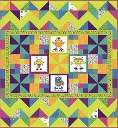 Silly Gilly and Friends Pieced Quilt Kit Free Project Quilt Kits The Whole Country Caboodle