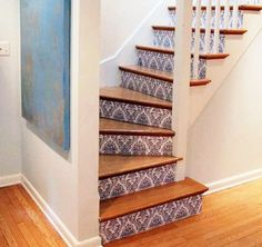 I like the idea of wallpaper stairs, not so much this wallpaper but I think I want to do it with the right wallpaper. Painted Staircases, Painted Stairs, Stenciled Stairs, Wallpaper Stairs, Of Wallpaper, Bathroom Wallpaper, Wallpaper Ideas, Pattern Wallpaper, Staircase Makeover