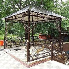 Pergola With Retractable Canopy Gazebo Roof, Iron Pergola, Metal Pergola, Pergola With Roof, Pergola Patio, Pergola Plans, Attached Pergola, Backyard Sheds, Backyard Landscaping