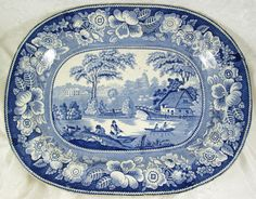 Antique 19th C Staffordshire Wild Rose Platter 18 inch Blue White Transferware