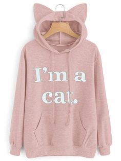 new products 841ad 74960 Letter Graphic Cat Hoodie  Sweatshirts  Fashion  Womens  Women  LightPink