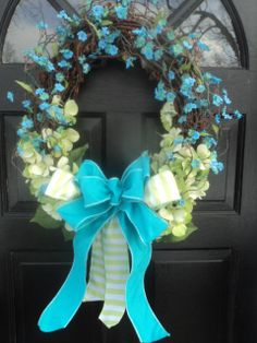 Turquoise Spring Wreath, Wedding Wreath, Easter Wreath, Turquoise and Spring Green, A Blossom Shop, ABlossomShop,