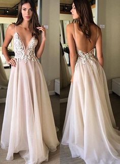 Champagne v neck lace long prom dress, champagne