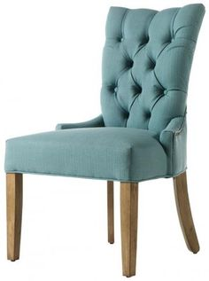 Buttoon Tufted-Back Dining Chair $239  Curious about what type of fabric this is