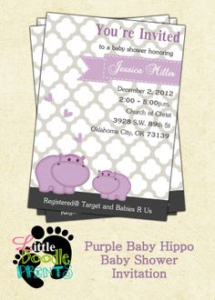 Baby Hippo Baby Shower invitation by LittleDoodlePrints on Etsy, $10.00