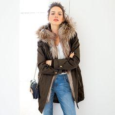 Parka longue zippée Soft Grey à capuche, doublée fausse fourrure prix promo Parka Femme La Redoute 99.99 € TTC au lieu de 139.99 €