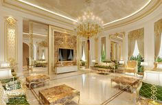 #WhiteandGold Luxury Living Room Interior Design
