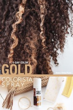 Use Gold Colorista Spray to create the perfect highlights in your hair for an everyday look! Simply spray on a small section of hair, and go! Colorista Sprays are the perfect size for on-the-go beauty looks with big impact. Your everyday hair will never look the same.