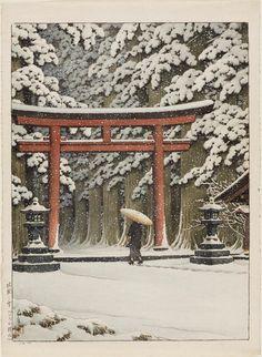 Snow at the Hakone Gongen Shrine. Japanese Shôwa era, 20th century Artist Kawase Hasui (Japanese, 1883–1957).