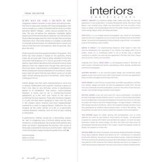 interiors - December/January 2014 ❤ liked on Polyvore featuring text, words, articles, filler, magazine, quotes, backgrounds, phrase and saying