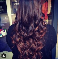 Chocolate brown hair with soft caramel ombre highlights
