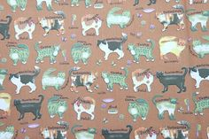 1 Metre Cotton Fabric, Cat Fabric on Brown Fabric, Case, Book Cover, Purse, Scrapbooking by PloyjaiFabric on Etsy