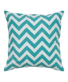 Teal & White Zigzag Throw Pillow - Set of Two by Rizzy Home #zulily #zulilyfinds