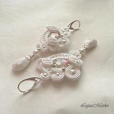 White summer soutache earrings
