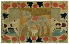Important bias shirred rug, $30,000  with barnyard animals, tweed-textured saddled pony with a chicken below, spotted dog to each side, abstract fruit and flower border, vegetable-dyed wool on homespun linen, cotton ticking backing, vibrant colors, New England, mid 19th century, 53 x 33-1/2 in. Provenance: American Hurrah, NYC, 1992, Joel and Kate Kopp, American Hooked and Sewn Rugs, 1985