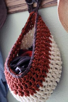 Bird's Nest Basket crochet pattern - possibly for stashing winter hats and gloves.