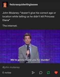 John Mulaney: *doesn't give his correct age or location while telling us he didn't kill Princess Diana* The internet: Dankest Memes, Funny Memes, Hilarious, Jokes, John Mulaney, My Tumblr, Tumblr Funny, Bo Burnham, Lol