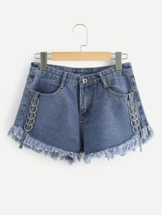 Shop O-Ring Detail Raw Hem Denim Shorts online. SheIn offers O-Ring Detail Raw Hem Denim Shorts & more to fit your fashionable needs. Denim Fashion, Fashion Outfits, Womens Fashion, Looks Adidas, Tom Ford Jeans, Denim Shorts Style, Cool Outfits, Casual Outfits, Chor