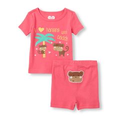 from The Children s Place · Place Shops Baby And Toddler Short Sleeve  I  Love Hanging With Daddy  Monkey Graphic 9aec727ea