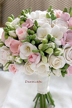 Beautiful Bouquet Of Flowers, Prom Flowers, Diy Wedding Flowers, Bridal Flowers, Flower Bouquet Wedding, Bridesmaid Bouquet, Floral Wedding, Beautiful Flowers, Clay Flowers