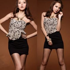 Sexy Korean Womens Gorgeous #Lace #Strapless Mini #Dress Black Cocktail Party