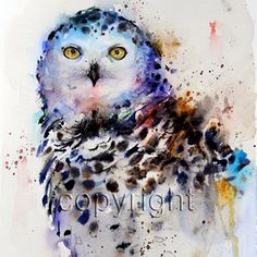 SNOWY OWL Giclee Print from Original Watercolor by DeanCrouserArt, $25.00