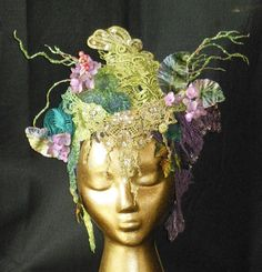Hand dyed Fantasy Wood Nymph Woodland Fairy Queen Princess Fairy world Renaissance Faire headpiece headdress crown tiara hat wreath