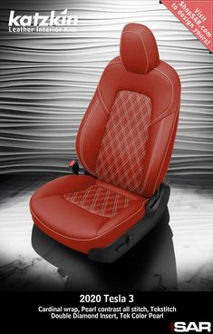 - This is a 2020 Tesla 3 seat with Cardinal wrap, Pearl contrast all stitch, Tekstitch Double Diamond Insert, Tek Color Pearl. Leather Kits, Custom Leather, Real Leather, Automotive Upholstery, Car Upholstery, Camo Gear, Leather Seat Covers, Popular Colors, Leather Interior