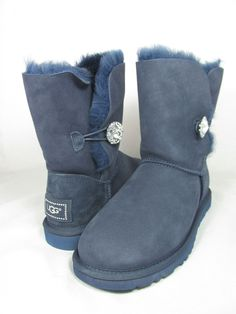 40fe7c467f3950 Women Ugg Australia Bailey Button Bling Navy Blue Boot Original 3349