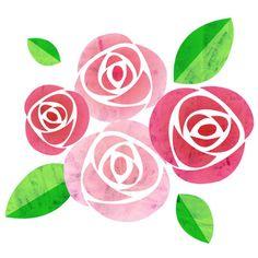 Free Font Design, Watercolor Flowers, Watercolor Paintings, Rose Stencil, Fabric Paint Designs, Floral Doodle, Flower Doodles, Floral Illustrations, Fabric Painting