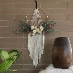 Five Gorgeous Macrame Wall Hangings plus Bonus DIY Patterns - Etsy Finds - One Pretty Print - Macrame Wall Hanging with Dried Flowers by Botanica Floral Co_Five Macrame Wall Hangings on Etsy - Macrame Wall Hanging Patterns, Hanging Flower Wall, Macrame Plant Hangers, Macrame Patterns, Macrame Wall Hangings, Boho Wall Hanging, Quilt Patterns, Macrame Design, Macrame Projects