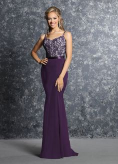 DaVinci Bridesmaids Style 60230 Chiffon fit and flare skirt has a satin  ribbon at the waist. Overall lace bodice has a v-neckline and zipper back. 81241097926d
