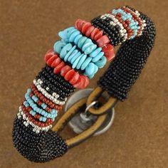 Indian Beaded Bracelet - Turquoise Bracelet - Native American Beadwork - Alltribes.com