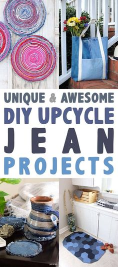 These Unique and Awesome DIY Upcycle Jean Projects are going to totally inspire you to create something fabulous! Jean Crafts, Denim Crafts, Diy And Crafts, Upcycled Crafts, Sewing Projects, Craft Projects, Sewing Tutorials, Sewing Ideas, Sewing Crafts