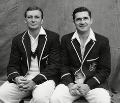 Richie Benaud (left) and Neil Harvey during the Worcester v Australia match in 1961 - Telegraph