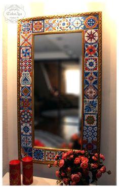 Iya Lyamkina (Petrova) - My works. Mirror Painting, Mirror Art, Mirrors, Mirror Mosaic, Mosaic Art, Carved Wood Wall Art, Tile Art, Tiles, Indian Home Decor