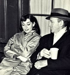 Audrey Hepburn and Fred Astaire on the set of Funny Face, 1957.