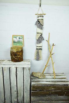 Woven wall hanging, long narrow handspun wool home decor, Grey white black tapestry, Modern home decor,  textile wall art, wall rug, weaving