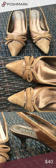 Franco Sarto heels Great clean condition. Worn once with slight scuffs on sole. Suede camel and patent bronze with bow. Franco Sarto Shoes Heels