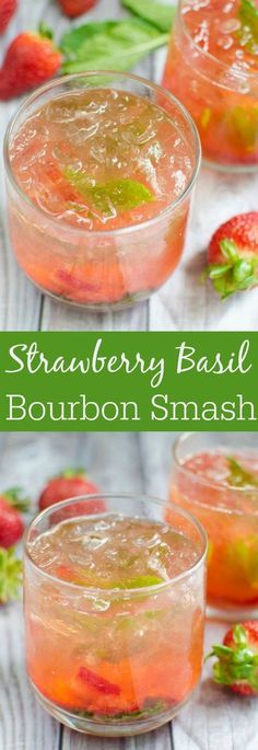 Strawberry Basil Bourbon Smash – juicy strawberries and fresh basil are the perfect pair in this bourbon cocktail recipe! Strawberry Basil Bourbon Smash – juicy strawberries and fresh basil are the perfect pair in this bourbon cocktail recipe! Party Drinks, Fun Drinks, Healthy Drinks, Alcoholic Drinks, Beverages, Drinks Alcohol, Drunk Party, Liquor Drinks, Detox Drinks