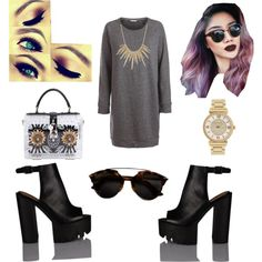 dark kiss by popalah on Polyvore featuring polyvore fashion style Pieces Dolce&Gabbana Alexis Bittar Michael Kors