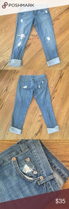 J. Crew vintage matchstick jeans These jeans are buttery soft and have a distressed look.  So comfy while keeping up with trends!  Only worn a few times, excellent condition!! J. Crew Jeans