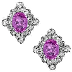 Stunning Pink Sapphire Diamond Gold Stud earrings   From a unique collection of vintage stud earrings at https://www.1stdibs.com/jewelry/earrings/stud-earrings/
