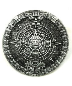 Round Aztec Calendar Belt Buckle with a Pewter Look Finish. Round Belt Buckle to suit wide belt. Designed to fit a W belt. Aztec Warrior Tattoo, Ancient Aztecs, Aztec Culture, Belt Without Buckle, Aztec Calendar, Western Belt Buckles, Aztec Art, Ornaments Design, Belts For Women