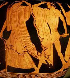In Greek mythology, Agamemnon was the brother of Menelaus, the husband of Clytemnestra, and the father of Electra and Orestes. When Helen, the wife of Menelaus, was abducted by Paris of Troy, Agamemnon commanded the united Greek armed forces in the ensuing Trojan War.  On Agamemnon's return from Troy he was murdered by Aegisthus, the lover of his wife Clytemnestra. In other versions Clytemnestra herself does the killing, or they do it together, in his own home.